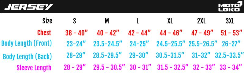 Chart containing adult motorsport jersey size guide