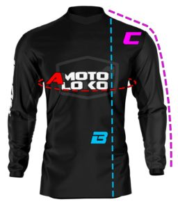 Motorsports jersey diagram showing measurement locations