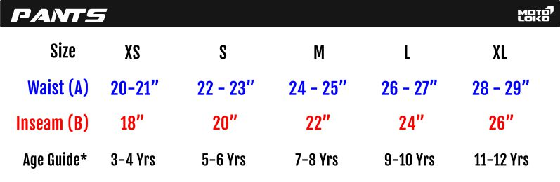 Chart containing kids motorsport pants size guide